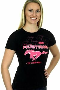 Ford Mustang Ladies T-shirt Pink Collage Logos Screen Printed Shirt BLOWOUT SALE