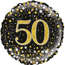 Sparkly Foil Helium Balloon Black Gold Silver Birthday Party Table Decorations