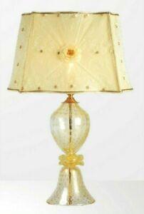 Lampada da Tavolo in vetro di Murano fuso con oro Fatto a Mano in Italia 1 Luce