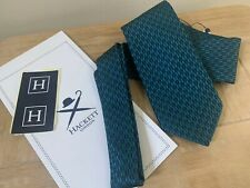 HACKETT TEAL & NAVY HERITAGE H LOGO SILK TIE WITH GIFT POUCH MADE IN ENGLAND