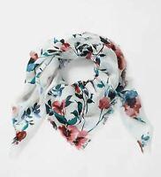 "NWT J Jill Watercolor Floral Square Scarf Eyelash Fringe 40"" x 40"" Rose Blue $39"
