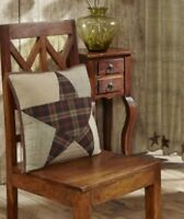 """ABILENE STAR Quilted Pillow Tan/Khaki Country Primitive Rustic 16""""x16"""" Patchwork"""