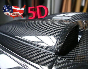 "Black Car Stickers Carbon Fiber Vinyl 12""x60"" 5D Ultra Shiny Gloss Glossy Wrap"