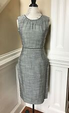 RENA LANGE Womens Dress 6 Black Gray Tweed Sleeveless Lined Sheath Neiman Marcus