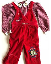 Clock Embroidered Overalls Two Piece Red Vintage Happy Kids Plaid Blouse 2 3T