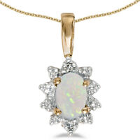 10k Yellow Gold Oval Opal And Diamond Pendant (Chain NOT included) (CM-P5055-10)