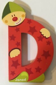 """*Choose Your Letter* Janod Wooden Clown Wall Letter 3 1/2"""" *NEW*"""