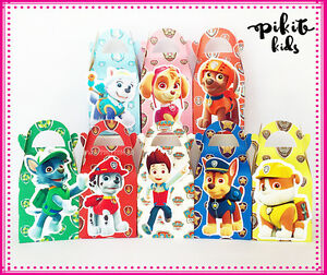 PAW PATROL PARTY FAVOUR BOXES THEMED KID BIRTHDAY LOLLY BAG SUPPLIES DECORATIONS