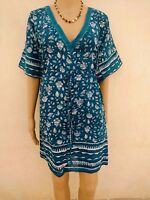 Indian Cotton Kaftan Hand Block Print Beach Maxi Kimono Short Cover Up Bikini A1