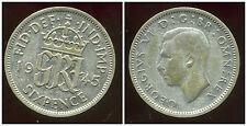 ROYAUME UNI  six pence  1945  argent