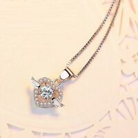 Pave Cubic Zirconia 925 Silver SP Love Heart Angel Wing Pendant Necklace