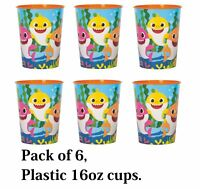 Baby Shark Lot of 6 ~ 16oz Party Plastic Cup ~Party Favor Supplies