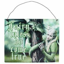 ANNE STOKES DRAGON METAL WALL ART 'FAIRY TALES DO COME TRUE'  WALL SIGN PLAQUE