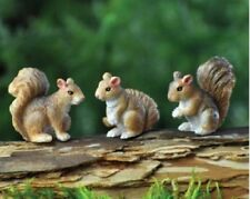Miniature Fairy Garden 3 Mini Micro Squirrels - New, Dollhouse, Terrarium,