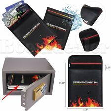 Large Fireproof Fire Resistant Document Bag Safe Pouch for Money File Passport
