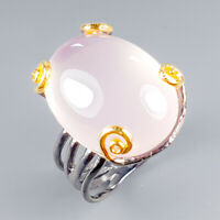 Handmade26ct+ Natural Rose Quartz 925 Sterling Silver Ring Size 8/R120262