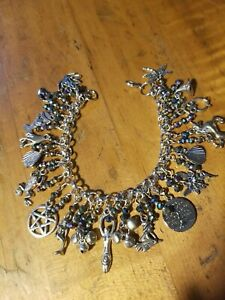 Wicca Witch Pagan 18 charm bells Pentagram Crystal's