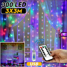 300LED/10ft Colgante Cadena De Luces Hada Cortina Boda Fiesta De Decoración De Pared Lámpara de Estados Unidos