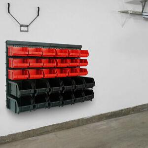 Storage Bins Kit 30Pcs Large Wall Mount Garage Warehouse Tool Rack Board Plastic