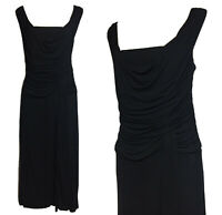 COAST Y2K 90s Glam Women's Black Evening Dress Draped Long Cocktail Party UK 16