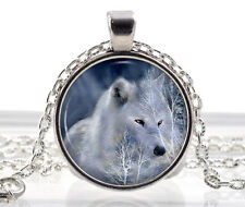Arctic Weiß Wolf Halskette - Fantasie Schmuck - Polar Anhänger - Animal
