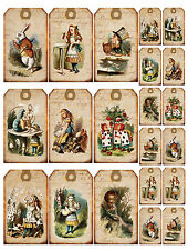 Vintage inspired Alice in Wonderland scrapbooking tags paper crafts set of 16
