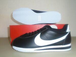 New Womens Nike Classic Cortez Leather Black White Shoes sz 9