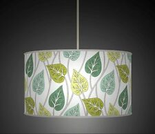 BLUE GREEN BOLD FLOWER LEAVES HANDMADE LAMPSHADE PENDANT DRUM LIGHT SHADE 673