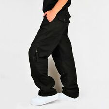 Mens Cotton Baggy Fit Cargo Combat Trousers Work Pockets Pants Street Wear Solid