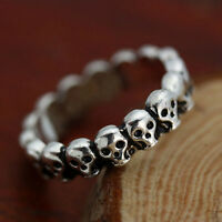 Gothic Lot Skull Fashion Biker Men's Silver Punk Stainless Steel Ring Size 7-9