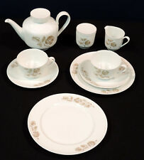 Arzberg 11 piece tea set  for 2 gold brown flowers leaves white bodies Germany