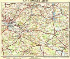 GERMANY. Hamburg-Lubeck 1936 old vintage map plan chart
