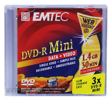 36 unidades EMTEC 4x DVD-R mini 8cm materiales 1,4gb 30min