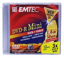 36 Stück EMTEC 4x DVD-R Mini 8cm Rohlinge 1,4GB 30min