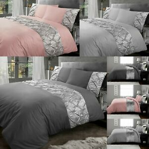 Silver Grey Velvet Duvet Cover Bedding Set 100% Egyptian Cotton Double King Size