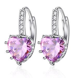 Fashion 925 Silver Drop Ear Hoop Earrings for Women Heart Shaped Jewelry