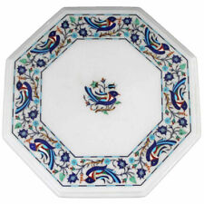 "12"" white marble table top center coffee home decor inlay malachite bird"