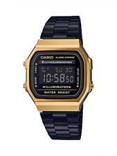 Orologio CASIO A168WEGB-1B Uomo Donna Unisex VINTAGE Acciaio Nero Gold Dorato