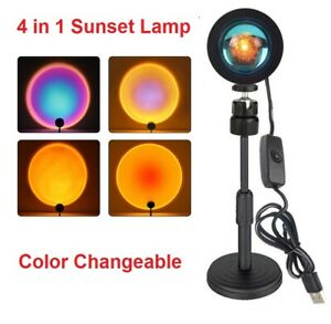 4 in 1 Sunset Projector Projection Lamp USB Atmosphere LED Desk Night Light Home