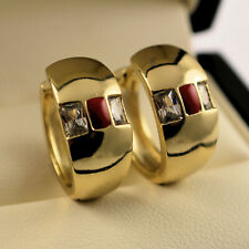 Yellow Gold Filled Red Clear CZ Crystal Huggie Hoop Earrings UK Seller -222