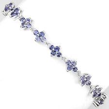 Sterling Silver 925 Genuine Natural Iolite Gemstone Flower Bracelet 7.5 Inches