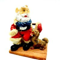 "Santa (Without Hat) and Puppy Resin Figurine Adorable Christmas 3.5"" T 3"" W 2"" D"