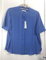 M&S Classic Blue Shirt Blouse Non Iron Smart Career Top 10 Hidden Buttons