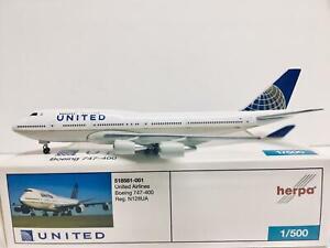 Herpa Wings United Airlines Boeing 747-400 1:500 N128UA 518581-001