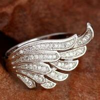 925 Silver Fashion Women White Topaz Angel Wing Engagement Rings Wholesale 6-10
