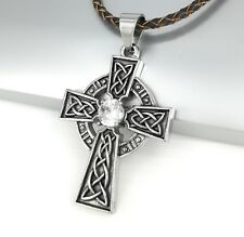Silver Black Celtic Knot Crystal Cross Pendant Brown Braided Leather Necklace