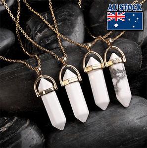 Natural White Topaz Healing Point Chakra Cut Gemstone Pendant  Necklace