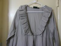 Dialogue Women's Size XL Open Front Top Gray Scoop Neck Long Sleeve Tunic