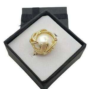 14K Yellow Gold Caged Mabe Pearl Ring Diamond Accents Size 5.75 Cluster 4.5g