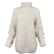 Handknitted Ivory Pure Wool Chunky Herringbone Ribbed Polo Neck Long Jumper L XL